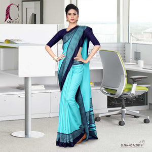 an image of turquoise and navy blueuniform sarees with brand logo and product sku number