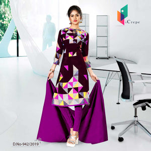 PURPLE AND BLACK CREPE SILK CORPORATE UNIFORM SALWAR KAMEEZ