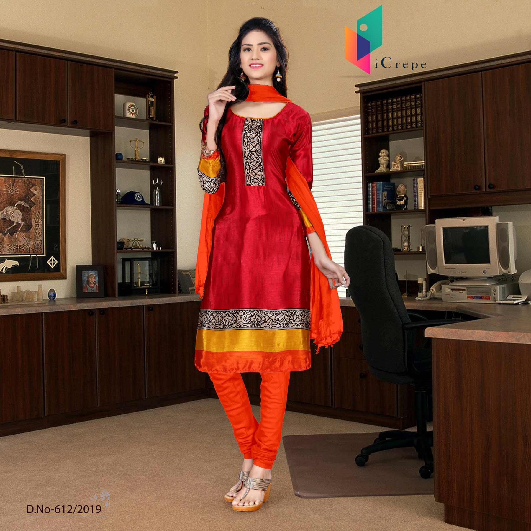 Maroon and orange italian crepe silk school uniform salwar kameez