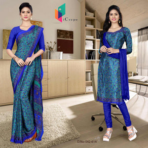 an image of  Turquoise and blue italian crepe silk simple uniform saree salwar combo with product logo and sku number