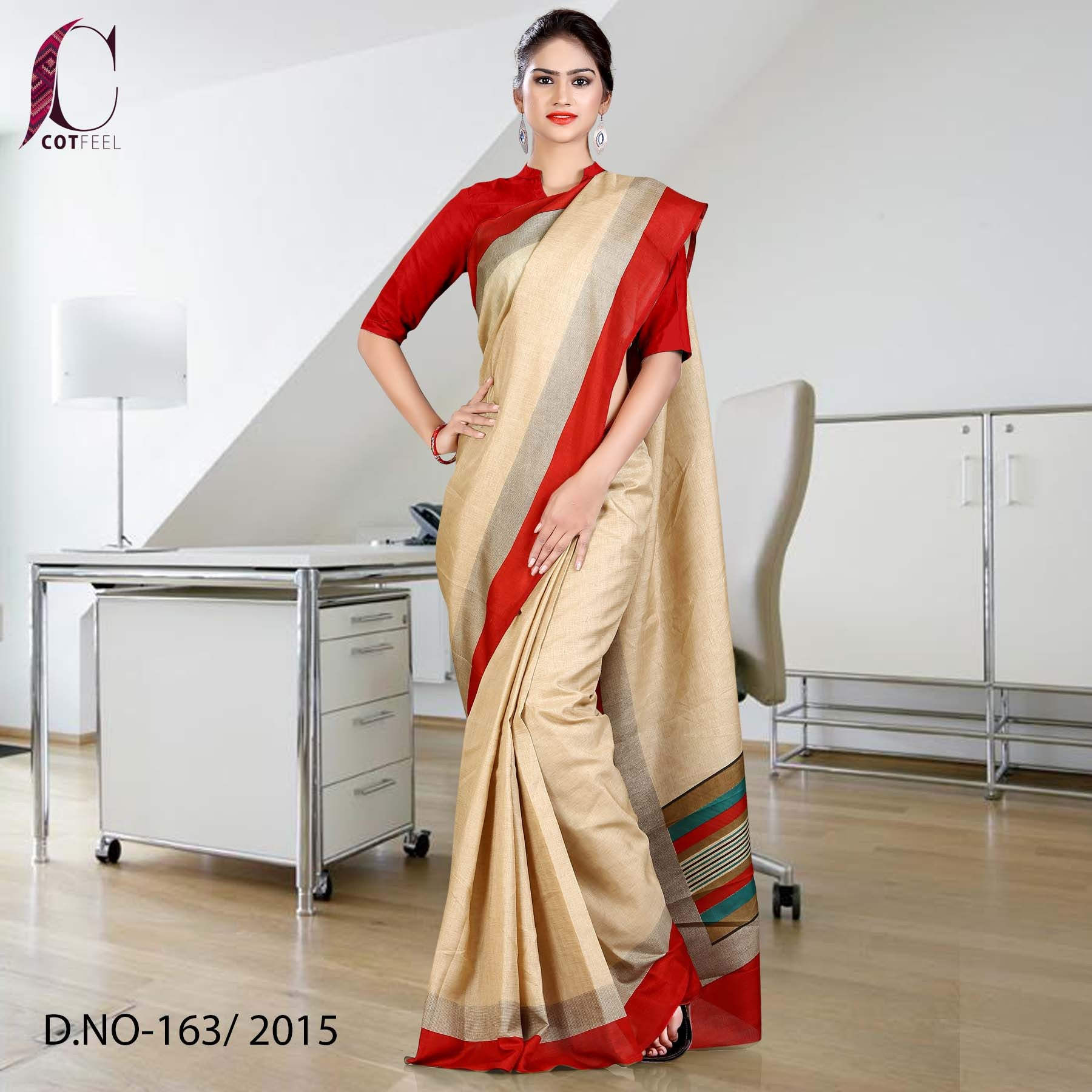 Beige and red Tripura cotton uniform saree