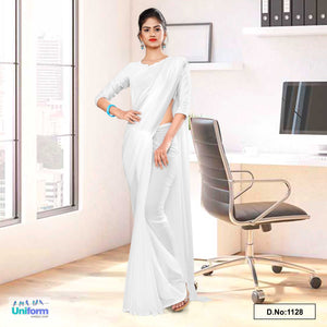 White Soft Georgette Plain Uniform Sarees For Mourning Funerals