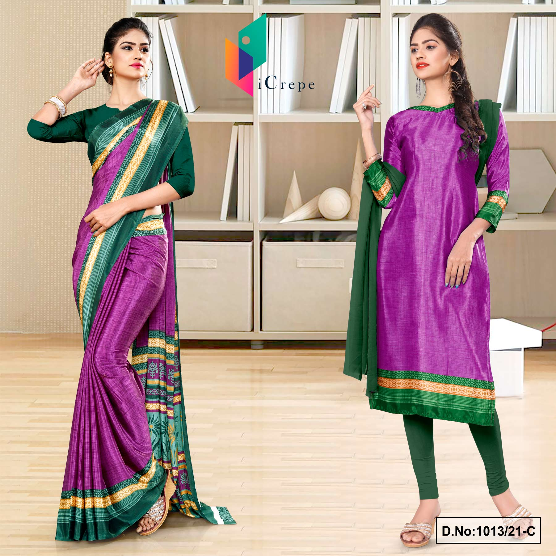 Wine Bottle Green Premium Italian Silk Crepe Saree Salwar Combo for Industrial Uniform Sarees