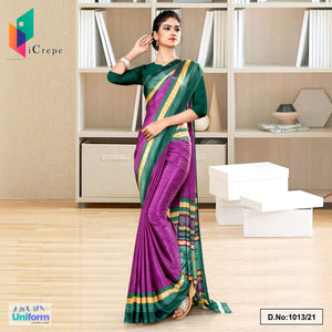 Wine Bottle Green Premium Italian Silk Crepe Saree for Industrial Uniform Sarees