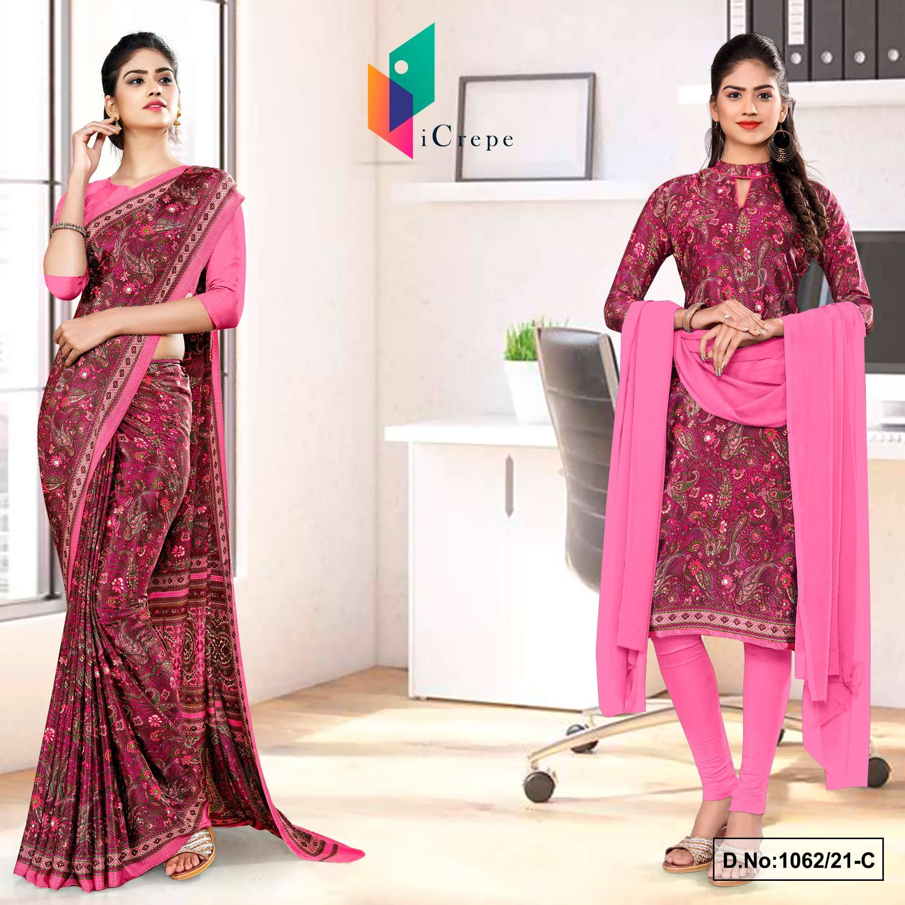 Wine Pink Paisley Print Premium Italian Silk Crepe Uniform Saree Salwar Combo for School Teachers