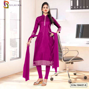 Wine Plain Border Premium Polycotton Raw Silk Salwar Kameez for College Uniform Sarees