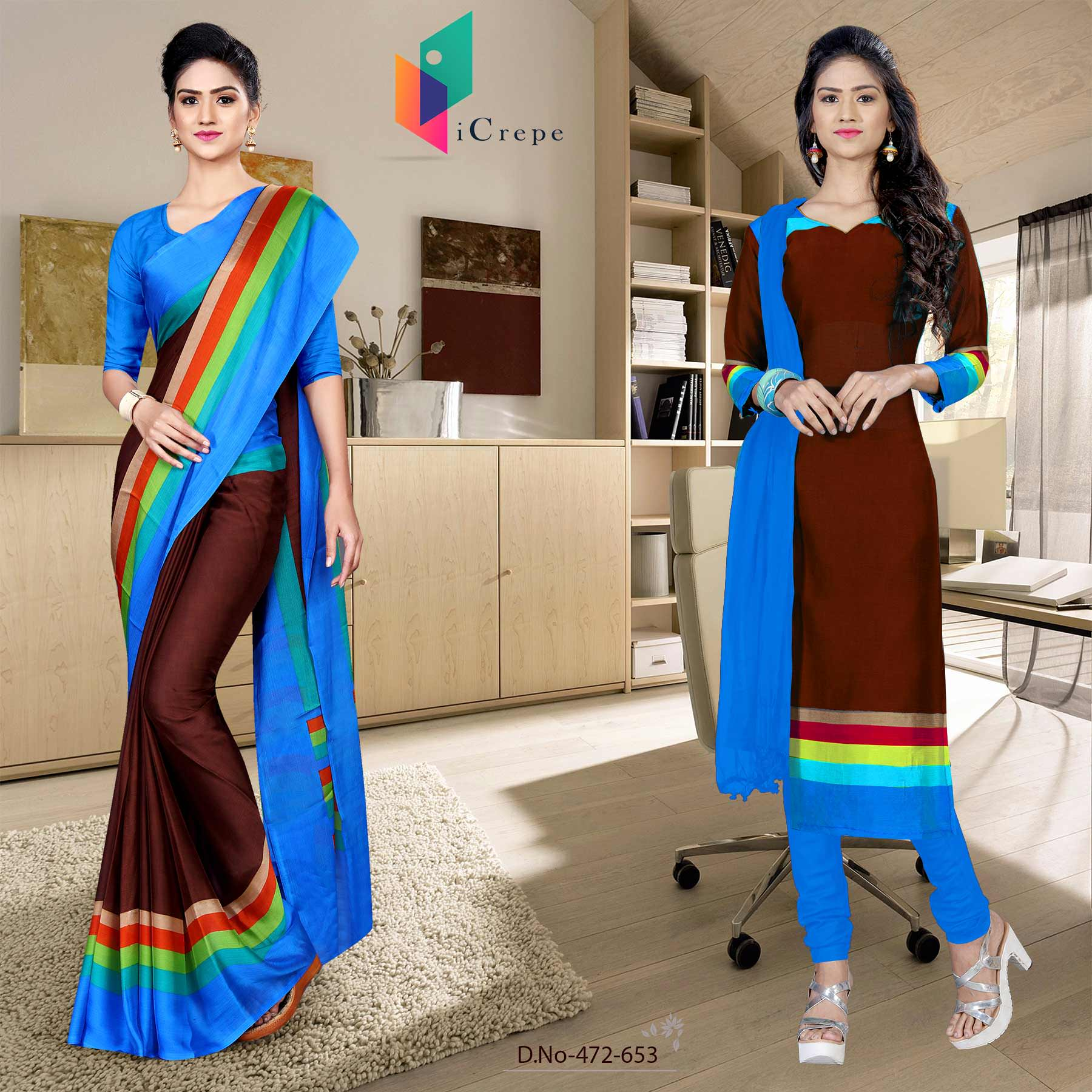 Coffee and blue italian crepe silk college uniform saree salwar combo