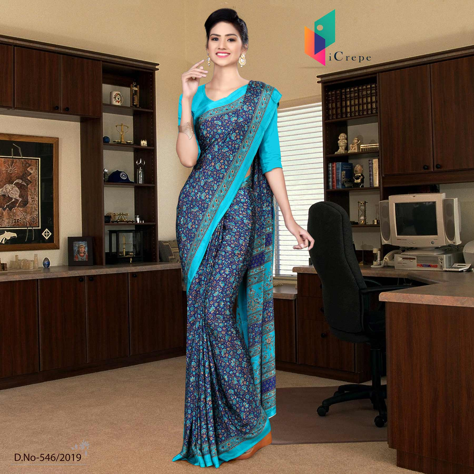 Navy blue and turquoise italian crepe silk showroom uniform saree