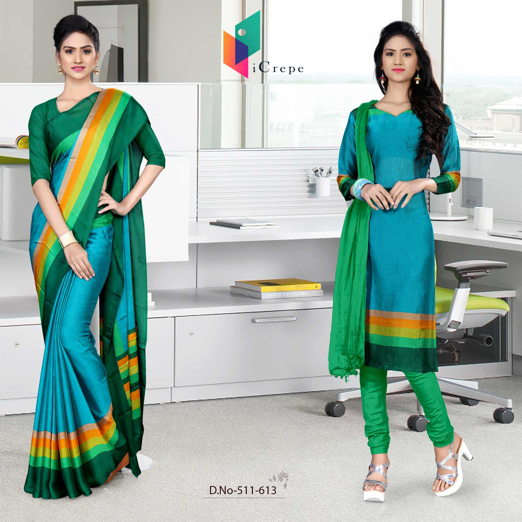 Dark blue and green italian crepe silk institute uniform saree salwar combo