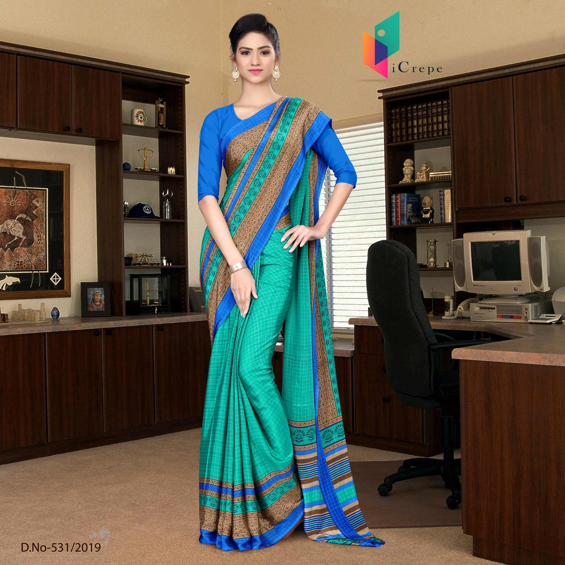 Green and blue italian crepe silk office uniform saree