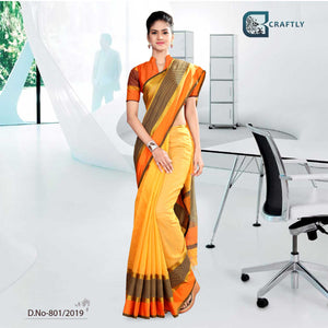 YELLOW AND ORANGE   CRAFTLY COTTON CORPORATE UNIFORM SAREE