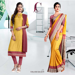 YELLOW AND PINK FANCY INSTITUTE  UNIFORM SAREE SALWAR COMBO