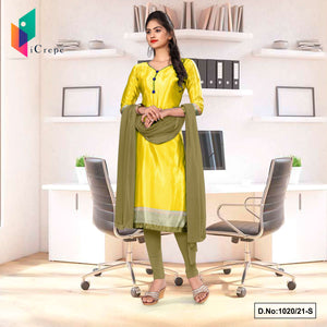 Yellow Beige Premium Italian Silk Crepe Salwar Kameez for Teachers Uniform Sarees