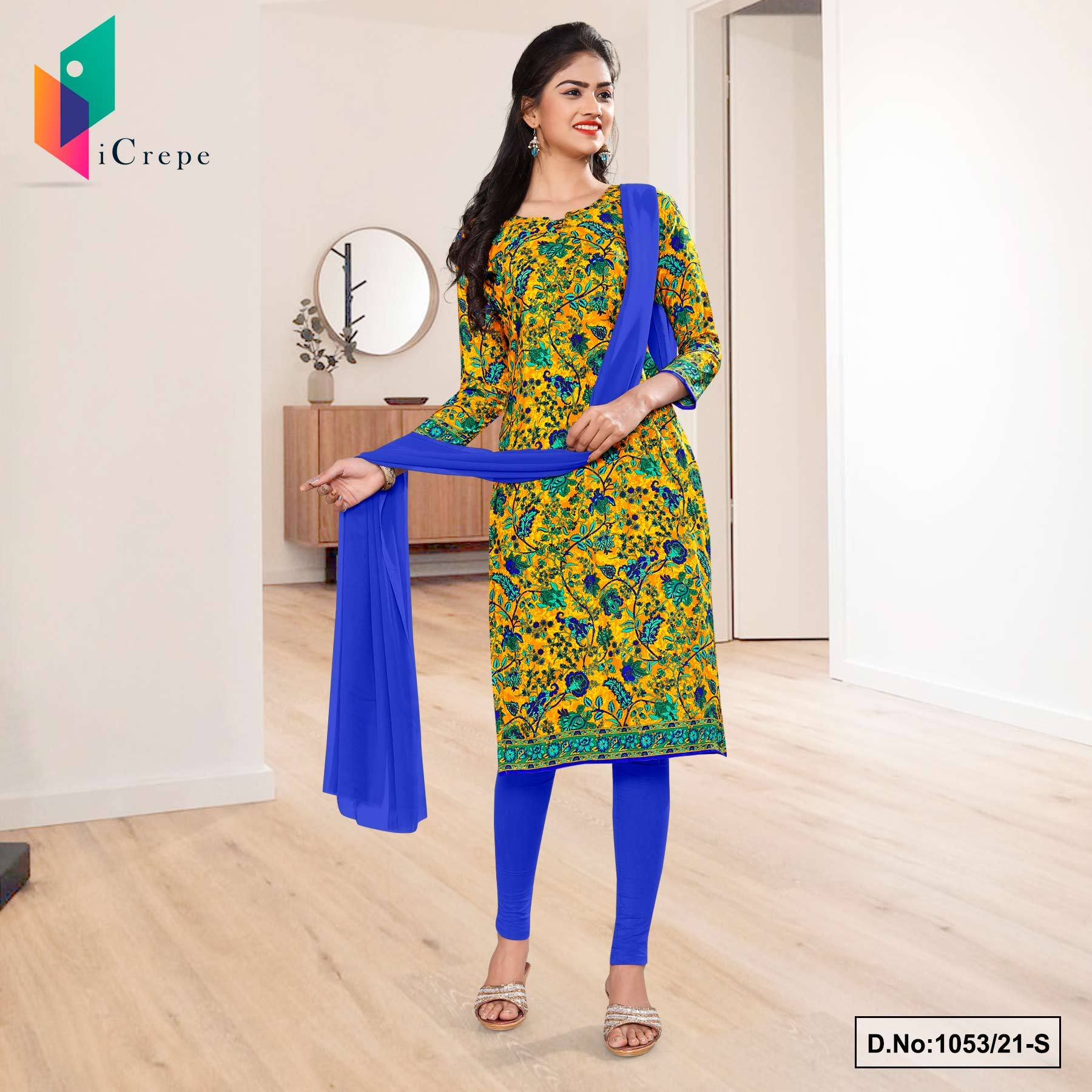 Yellow Blue Flower Print Premium Italian Silk Crepe Uniform Chudidar for College Students