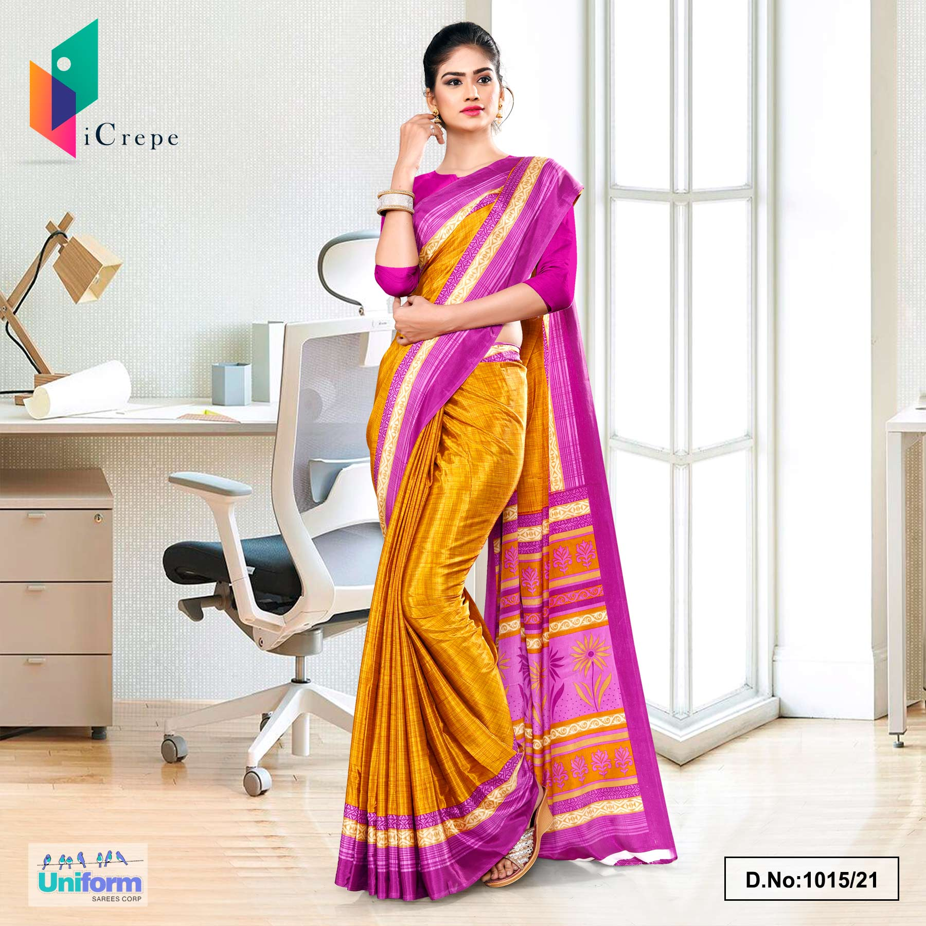 Yellow Lavender Premium Italian Silk Crepe Saree for Workers Uniform Sarees