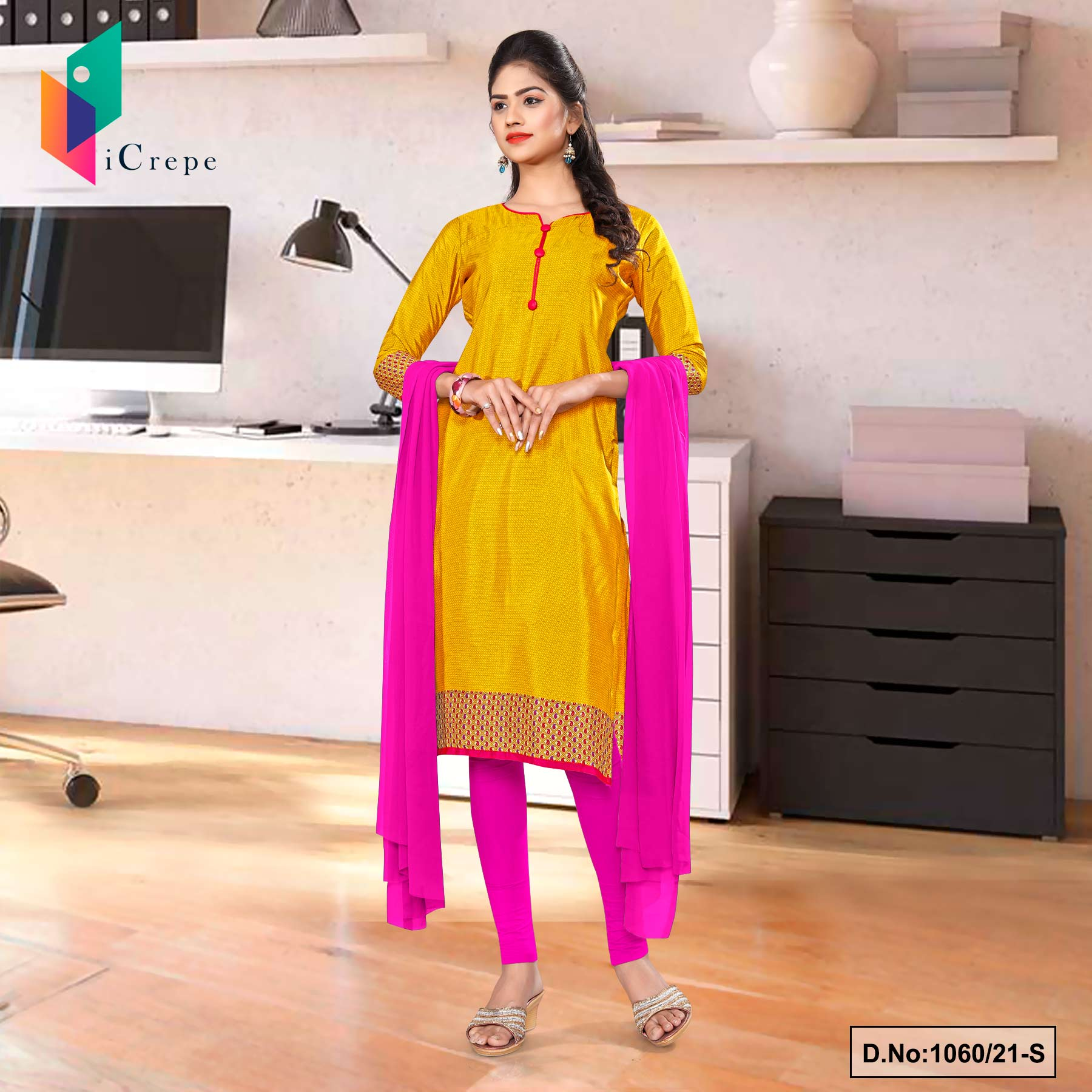 Yellow Rani Premium Italian Silk Crepe Uniform Salwar Kameez for Annual Function