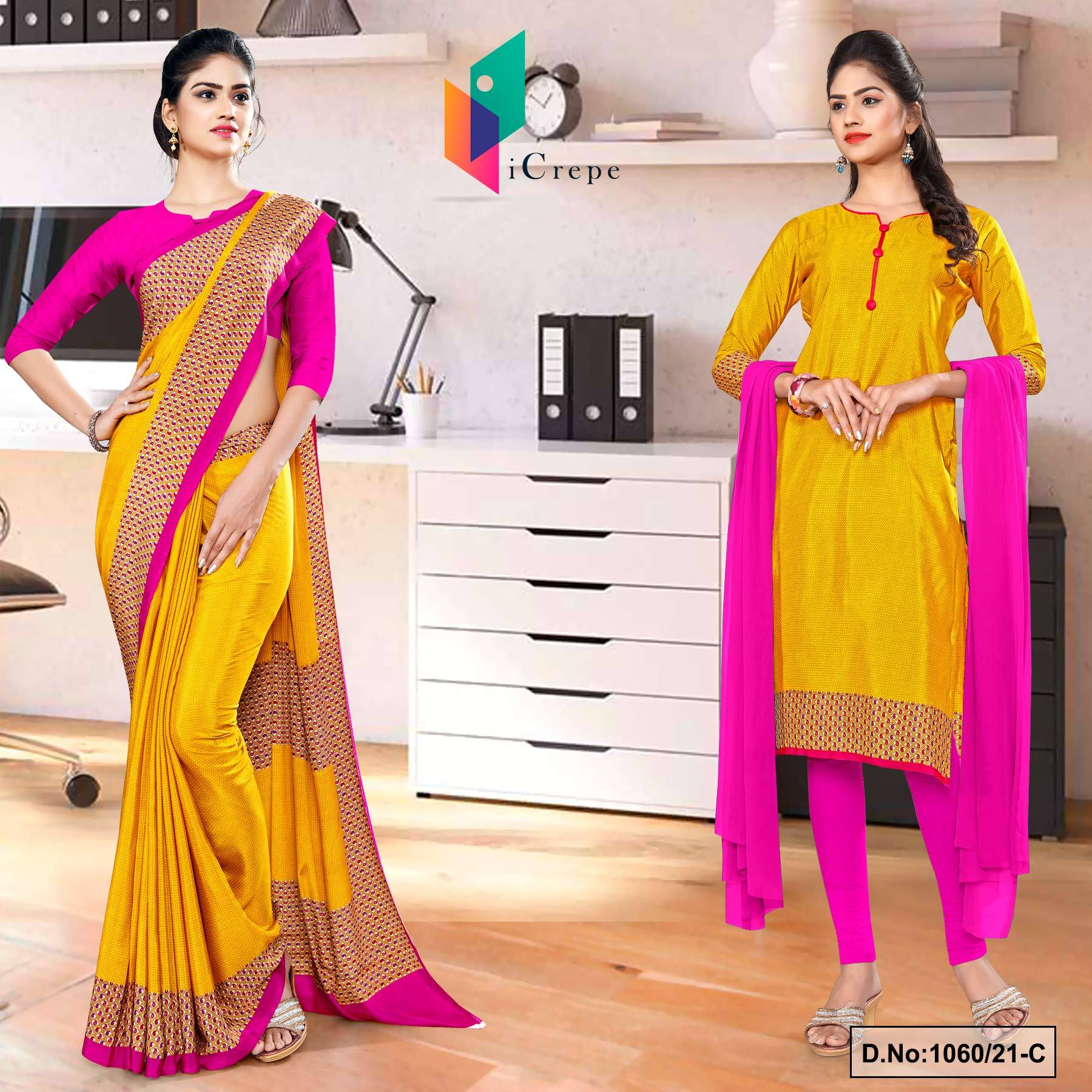 Yellow Rani Premium Italian Silk Crepe Uniform Saree Salwar Kameez Combo for Annual Function