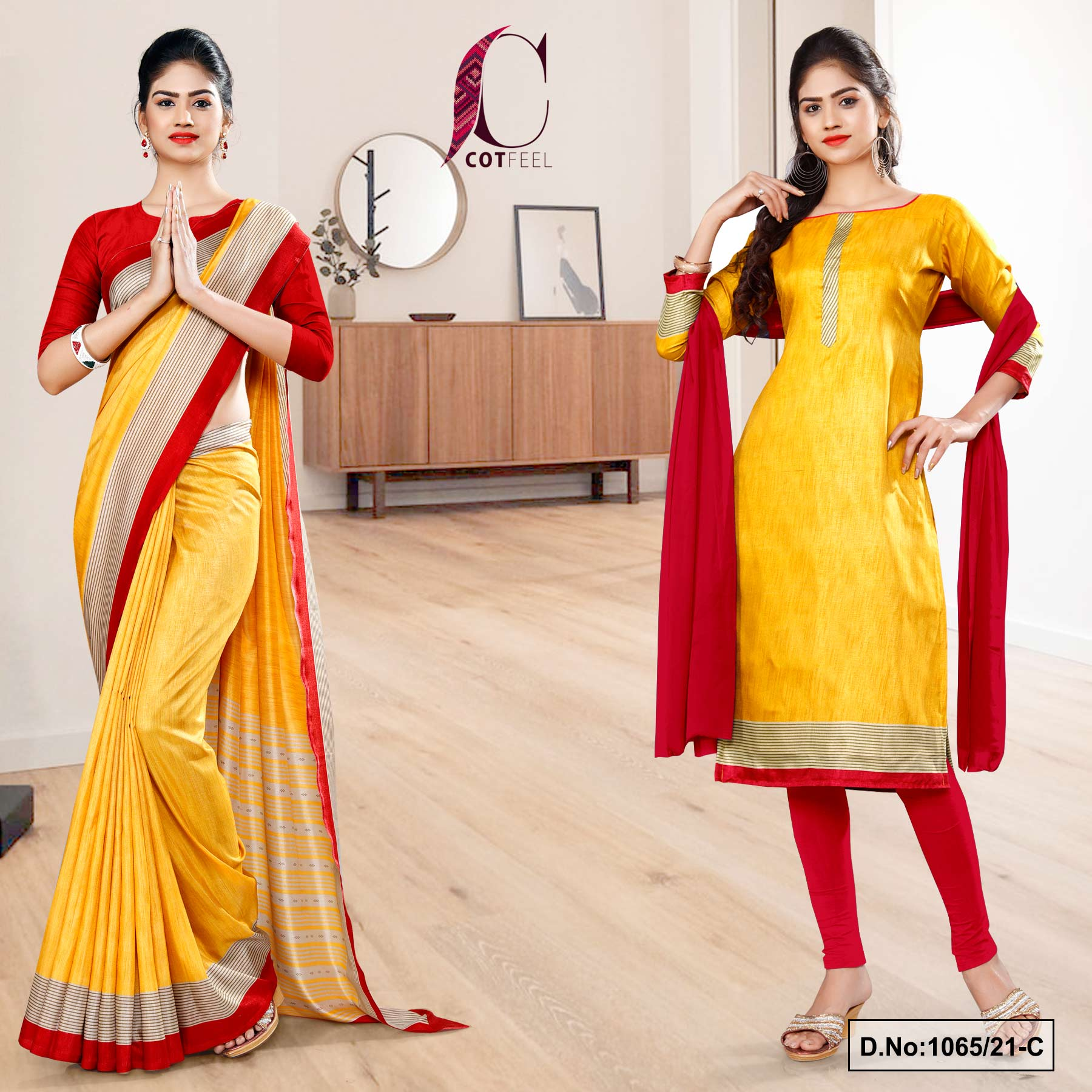 Yellow Red Plain Border Premium Polycotton CotFeel Saree Chudi Combo for Student Uniform Sarees 1065