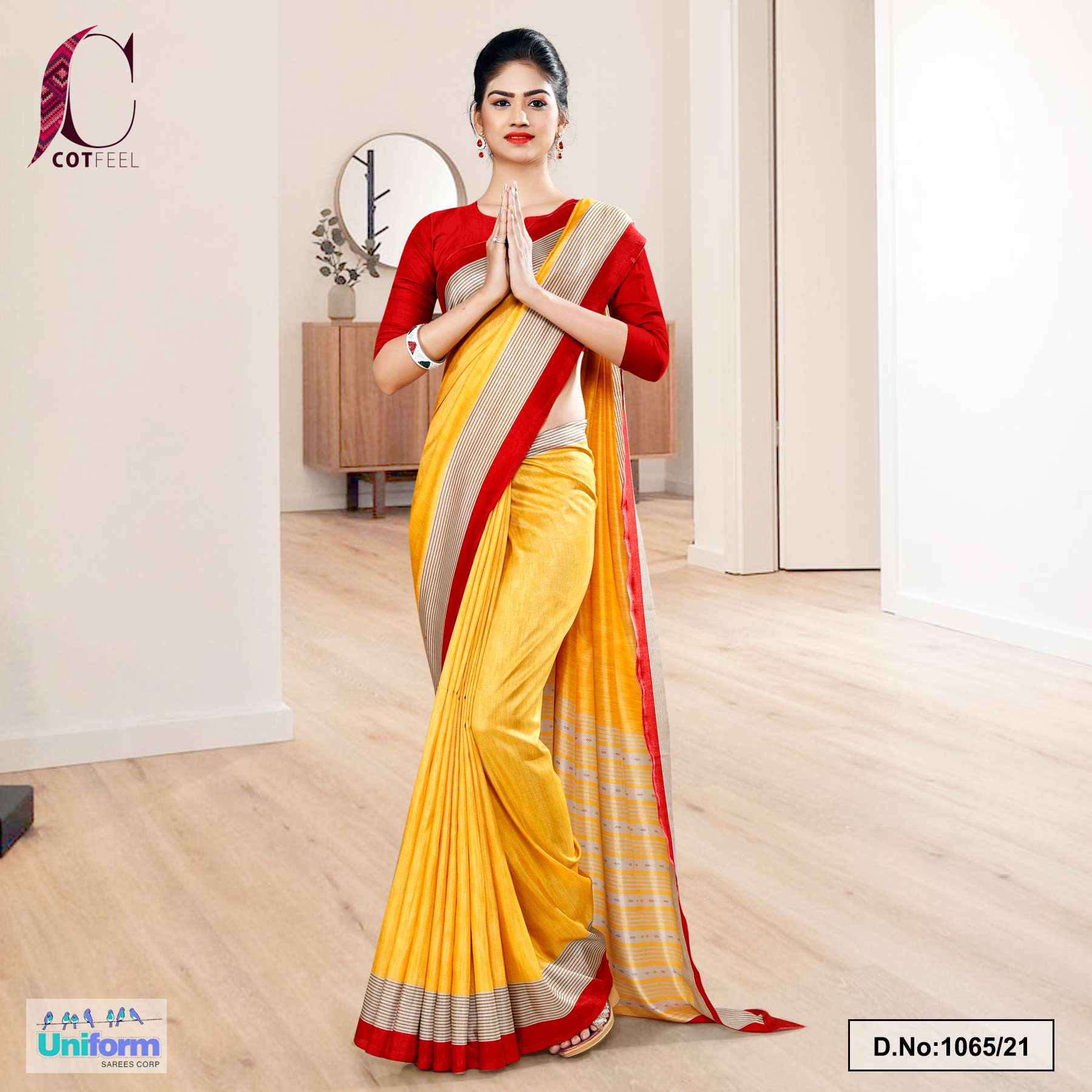 Yellow Red Plain Border Premium Polycotton CotFeel Saree for Student Uniform Sarees