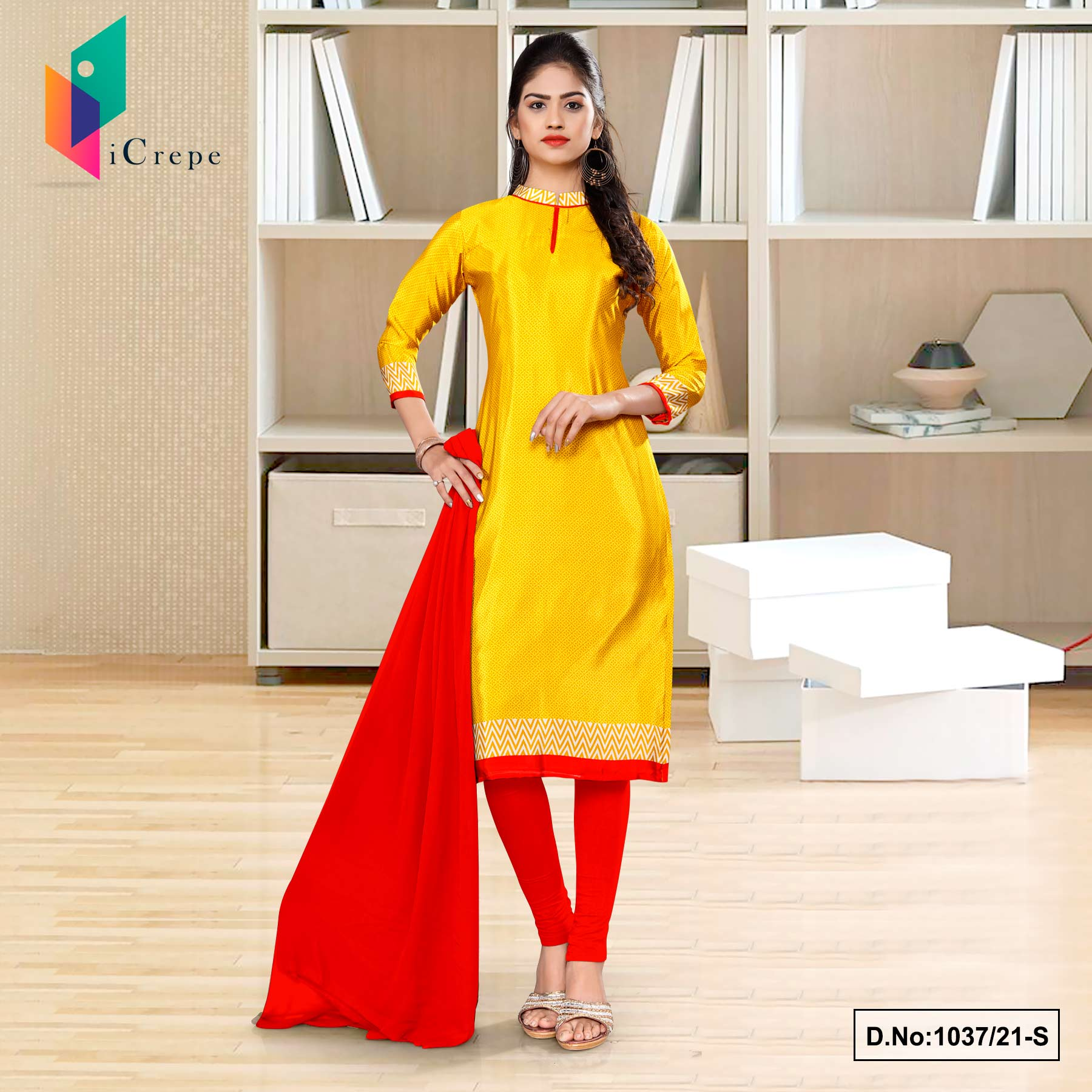 Yellow Red Premium Italian Silk Crepe Uniform Salwar Kameez for School Teachers
