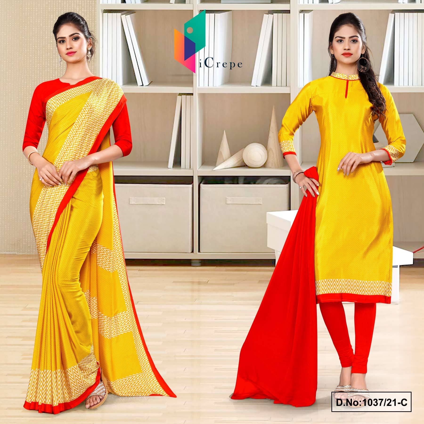 Yellow Red Premium Italian Silk Crepe Uniform Sarees Salwar Combo for School Teachers