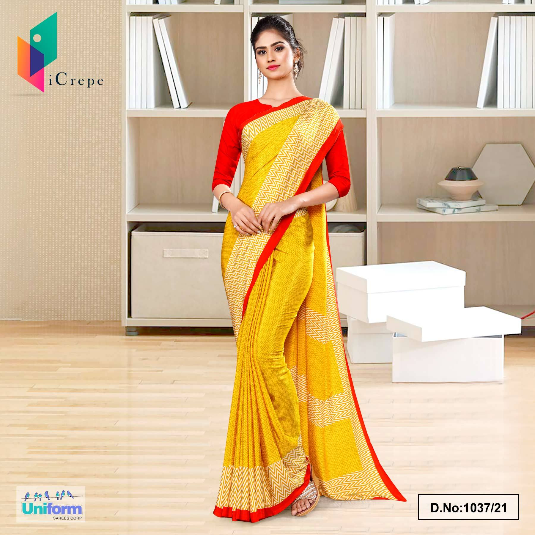 Yellow Red Premium Italian Silk Crepe Uniform Sarees for School Teachers