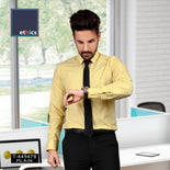 Yellow Solid Men's Cotton Corporate Workwear Unstitched  Uniform Shirt Fabrics