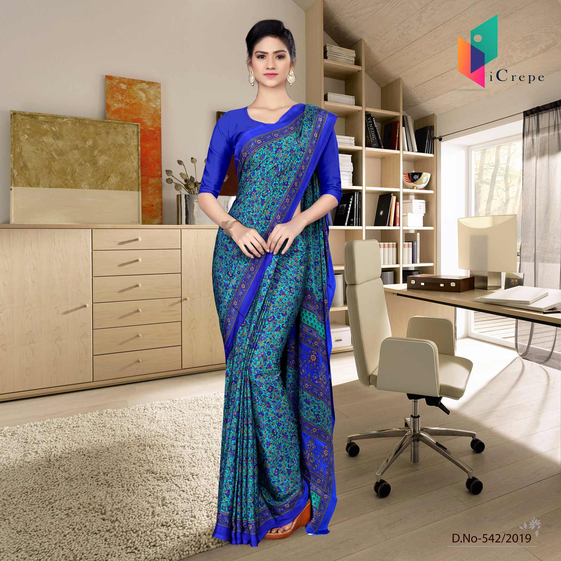 an image of uniform sarees with brand logo and product sku number