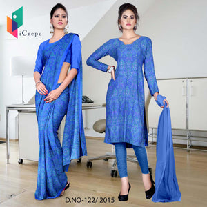 Royal blue Italian crepe uniform saree salwar combo
