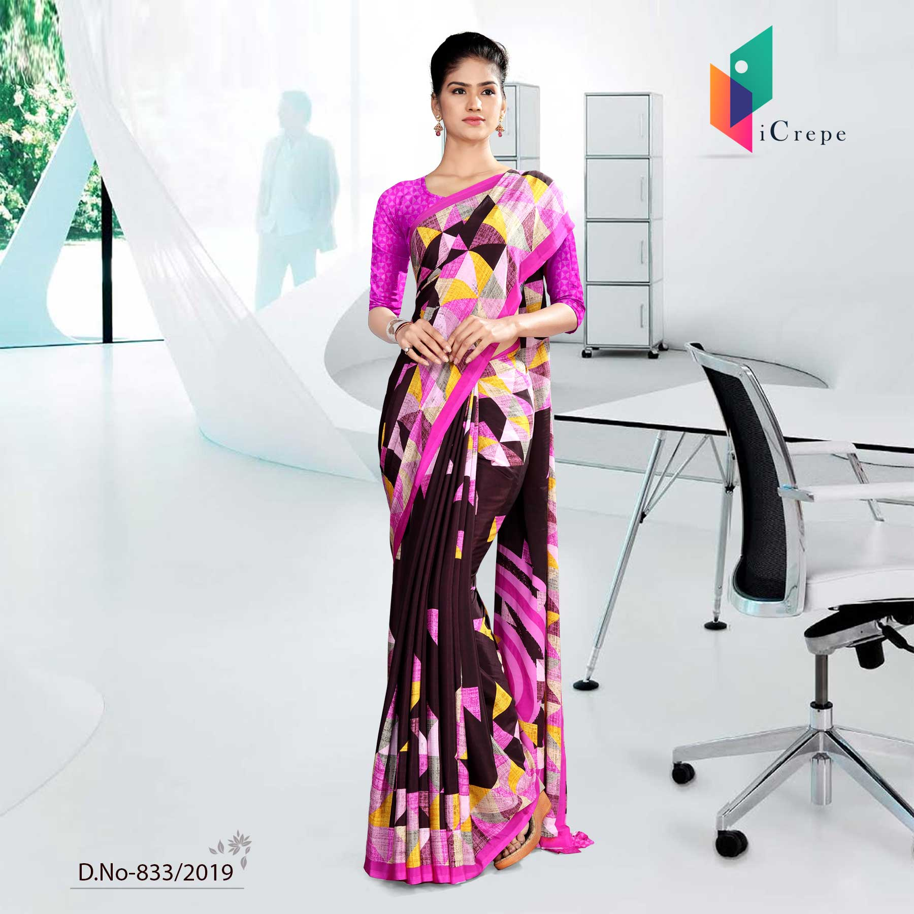 BLACK AND PINK ICREPE CORPORATE UNIFORM SAREE