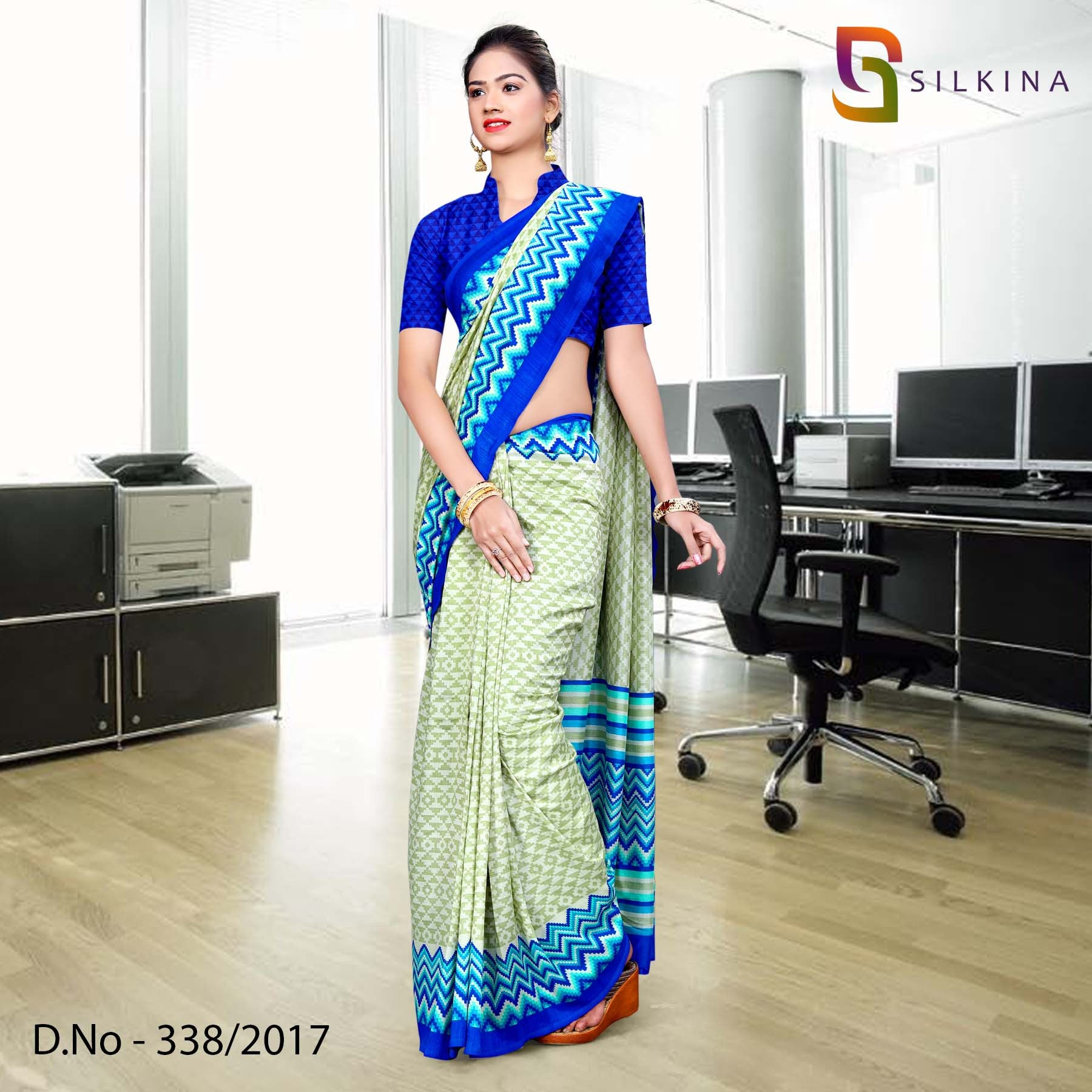 Light green and blue Silk Georgette Uniform Saree