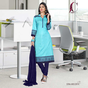 Turquoise with navy blue border tripura cotton teacher uniform salwar kameez