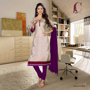 Beige with purple border tripura cotton school uniform salwar kameez