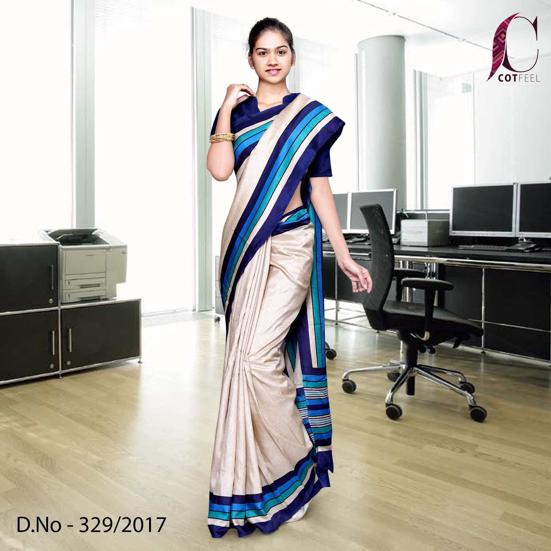 Beige with blue border Tripura Cotton Uniform Saree
