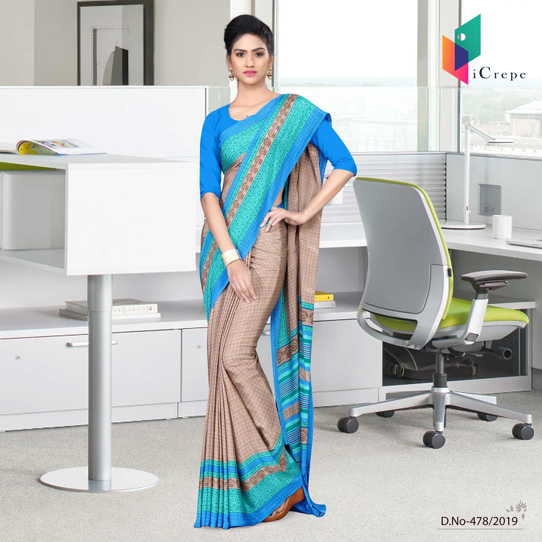 Beige and blue italian crepe silk air hostess uniform saree