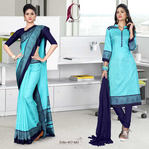 an image of turquoise and navy blue staff uniform saree salwar combo with product logo and sku number
