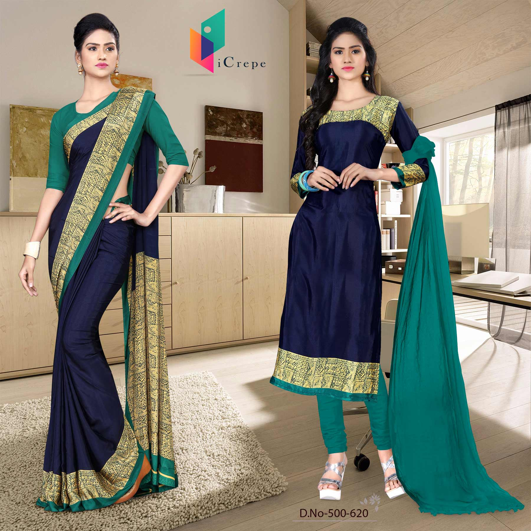 Dark blue and green italian crepe silk office uniform saree salwar combo