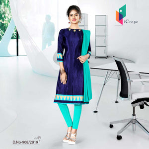 WHITE BLUE AND BLUE  CREPE SILK INSTITUTE  UNIFORM SALWAR KAMEEZ