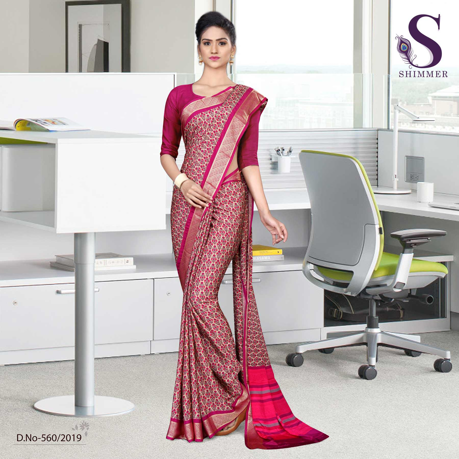 an image of Voilet purple silk crepe jaquard border simple uniform sarees with product logo and sku number
