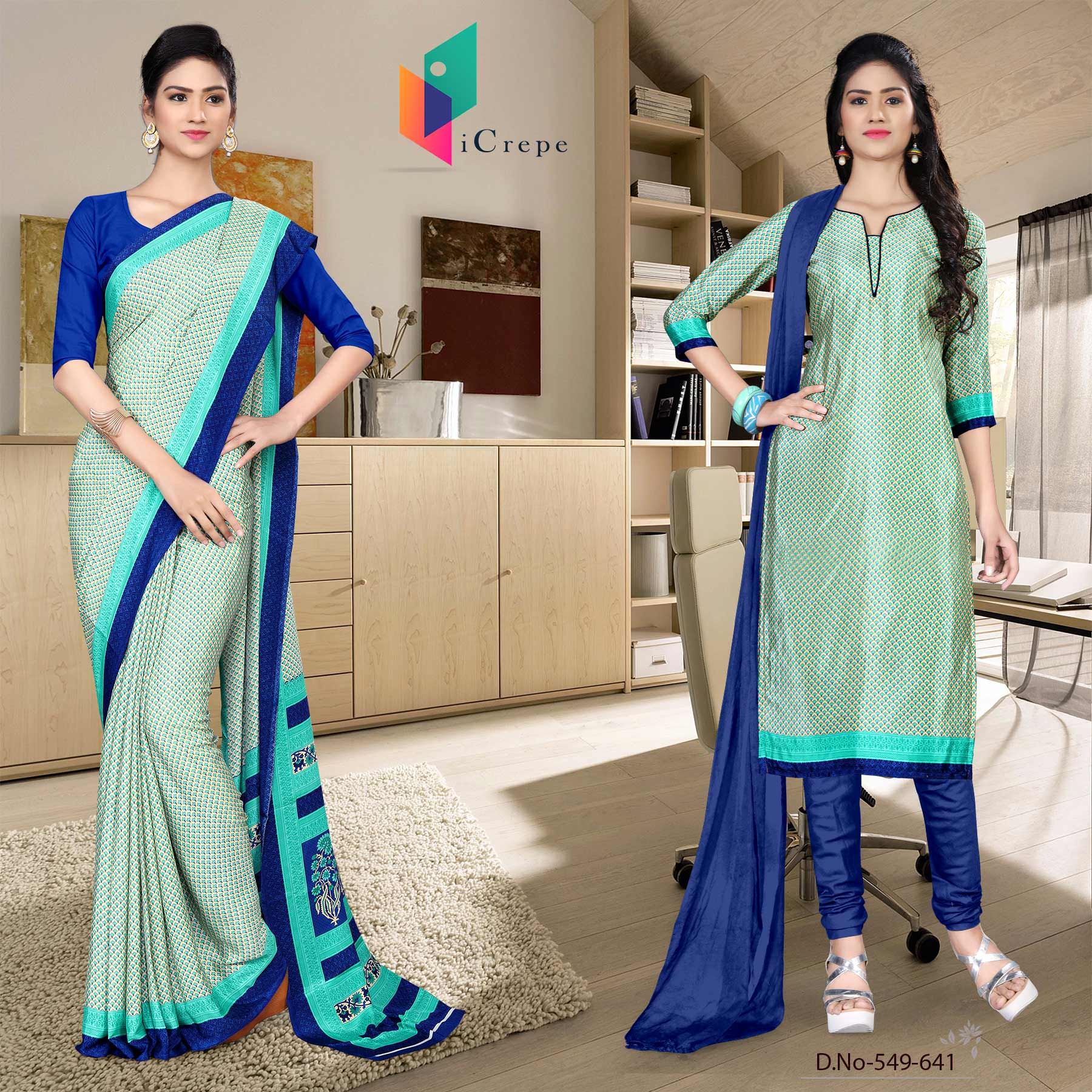 Off white and blue italian crepe silk staff uniform saree salwar combo