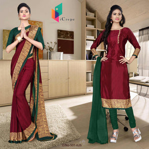 an image of  Red and green italian crepe silk teachers uniform saree salwar combo with product logo and sku number