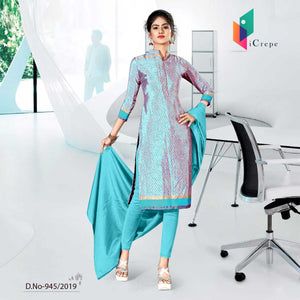 WHITE BLUE  CREPE SILK CORPORATE UNIFORM SALWAR KAMEEZ