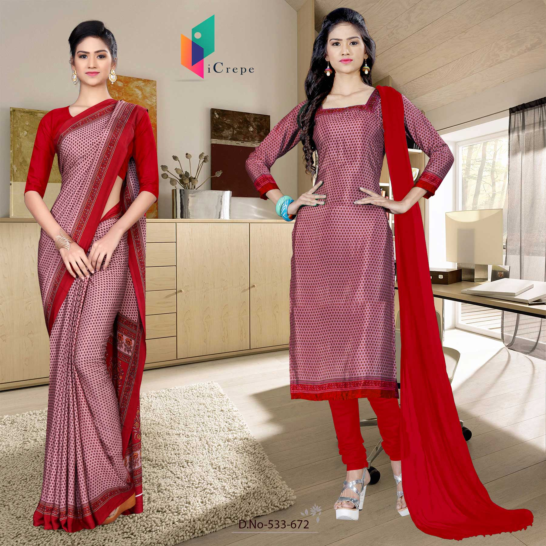 Light red and red italian crepe silk hotel uniform saree salwar combo