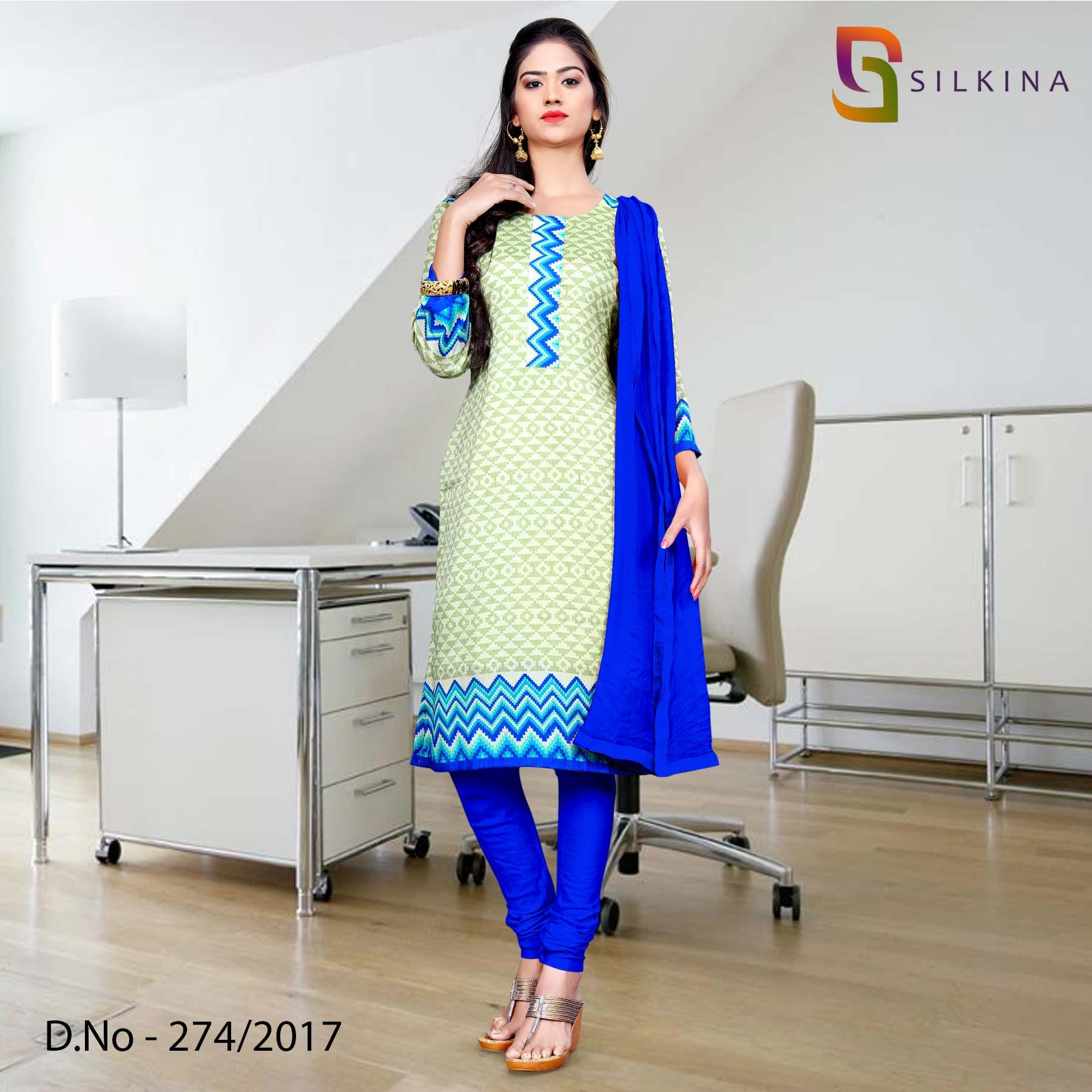 Light green and blue Silk Georgette Uniform Salwar Kameez