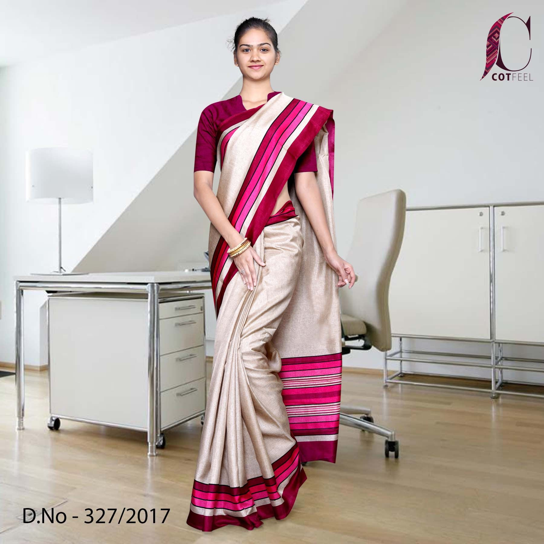 Beige with magenta border Tripura Cotton Uniform Saree