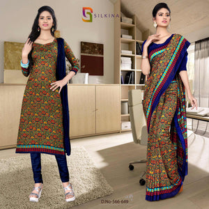 Off white dark blue Georgette  teacher Uniform saree salwar combo