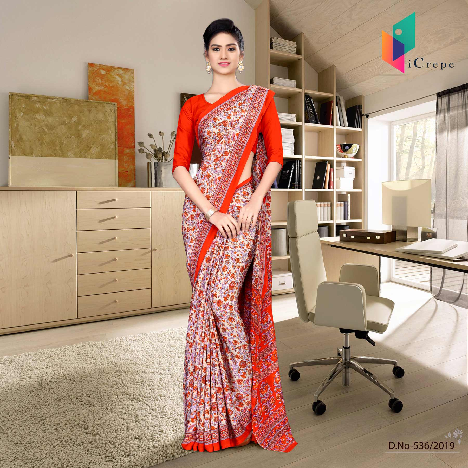 Beige and orange italian crepe silk office uniform saree
