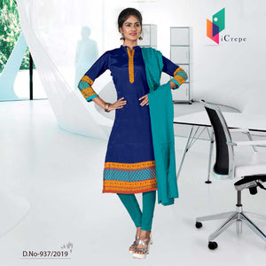 BLUE AND ORANGE  CREPE SILK SCHOOL UNIFORM SALWAR KAMEEZ