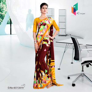 RED AND YELLOW ICREPE  CORPORATE UNIFORM SAREE