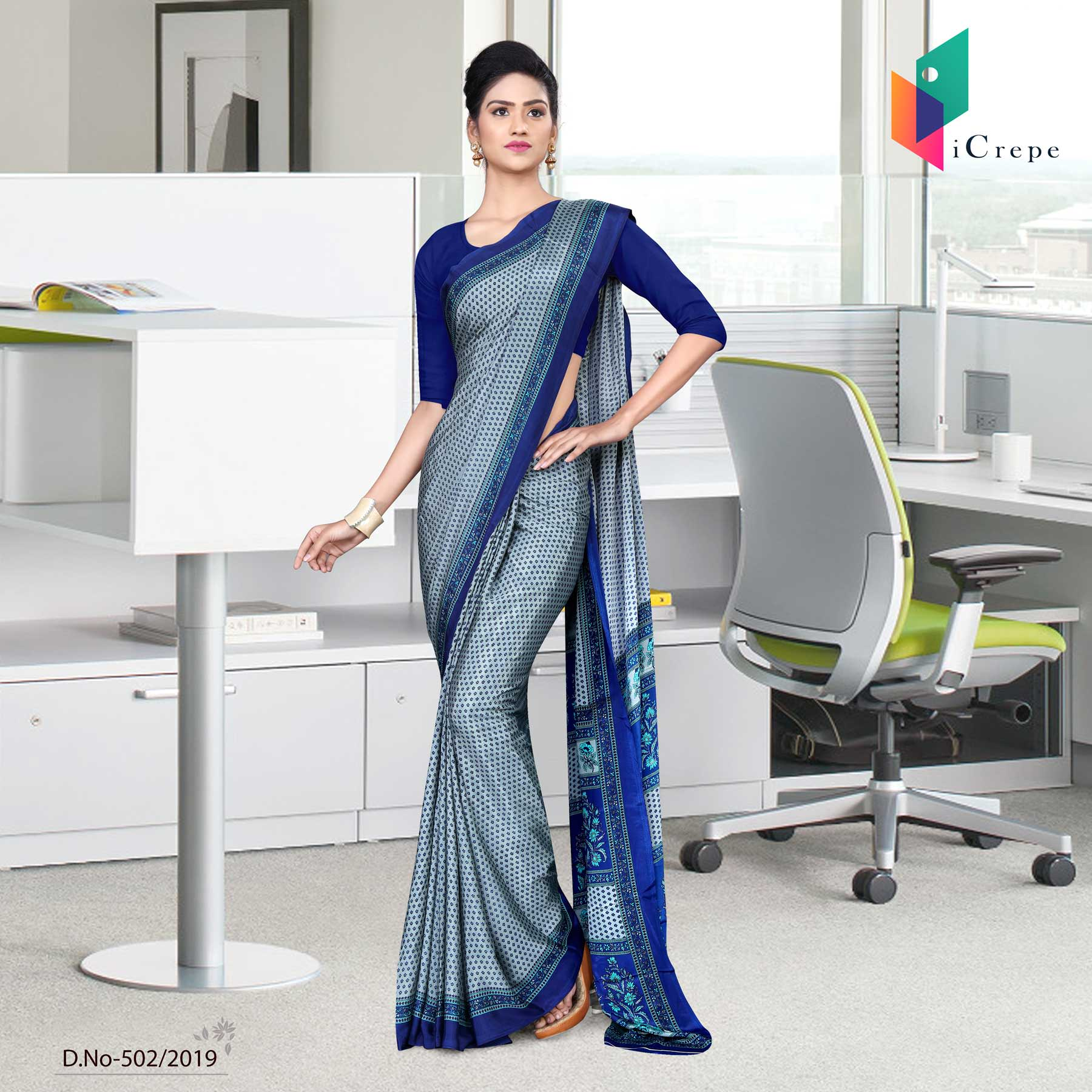 Light blue and blue italian crepe silk simple uniform saree